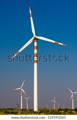 Windmills at Thar desert in Rajasthan, India - stock photo
