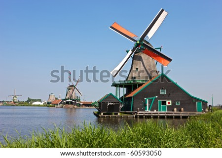 Windmills at the famous Zaanse Schans near Amsterdam, Netherlands