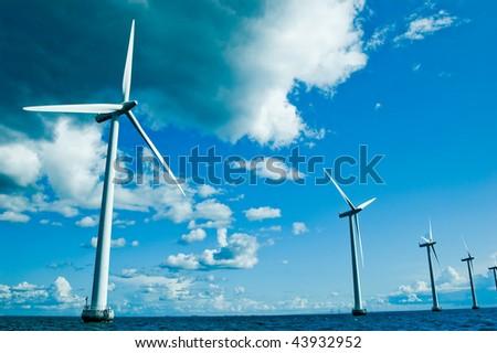 Windmills closer, horizontal - stock photo