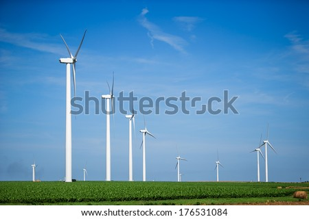 Windmills for Renewable Electrical Energy, Wind Farm Utility, Green Electric Power Generation