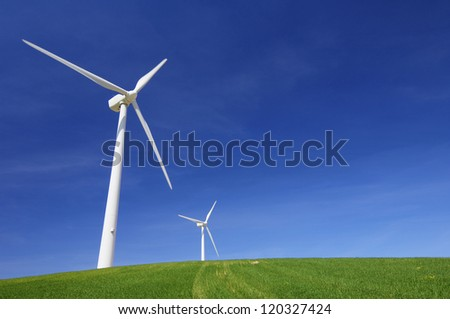 windmills for renewable energy production in a meadow of fresh grass