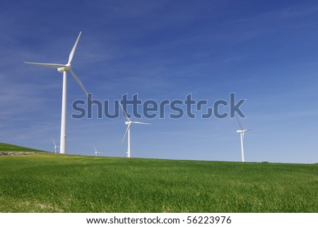 windmills in a green meadow with blue sky