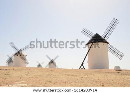 Windmills  in 'Campo de Criptana', a town of the province of Ciudad Real, Castile-La Mancha, Spain.  Foto stock ©