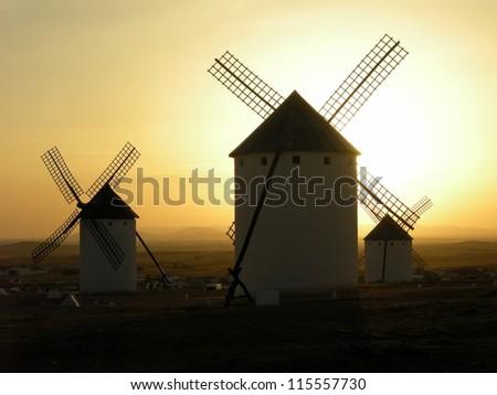 Windmills in Consuegra at sunset, Spain.