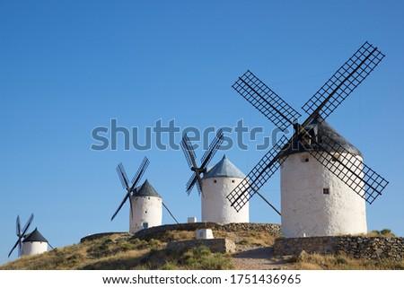 Windmills in Consuegra, Toledo Province, Castilla La Mancha, Spain. Foto stock ©