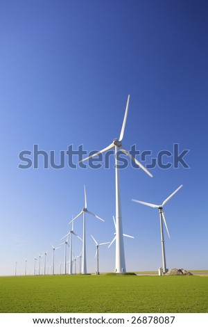 Windmills in Holland producing clean energy to help against global warming