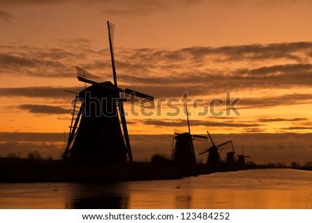 Windmills in Kinderdijk, Holland