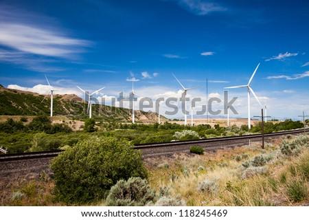 Windmills in Spanish Fork Canyon Utah