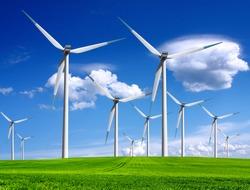 Windmills in summer landscape