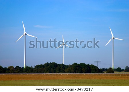 windmills in the  fields of Germany