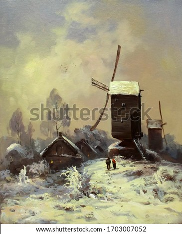 windmills in the morning after a snowfall,oil painting, fine art, figures of people, rural landscape, snow, architecture, sky, nature