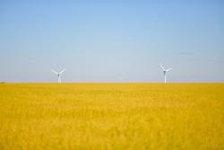 Windmills near the field of flax Normandy, France