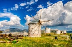 Windmills of Bodrum Town of Turkey
