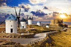 windmills of Don Quixote., Spain. Traditional spanish windmills. Legendary windmills of writer Servantes. Consuegra, Spain