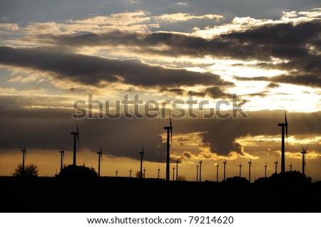 windmills on a sunset back-light generating alternative energy