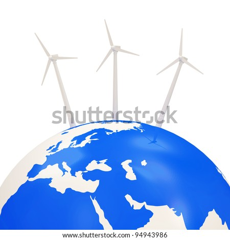 Windmills on Earth Planet isolated on white background (Alternative Energy Concept)