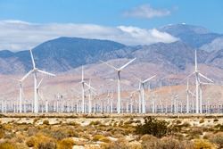 Windmills turbines for electric power production, Palm Sprigs, California. Simple of clean energy