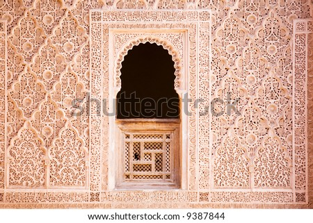 Window and arabian ornament. Detail of wall.