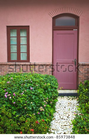 window and door in the garden