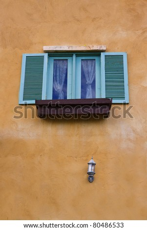 Window and lamp on clean background
