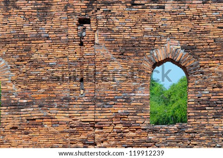 window and old brick walls