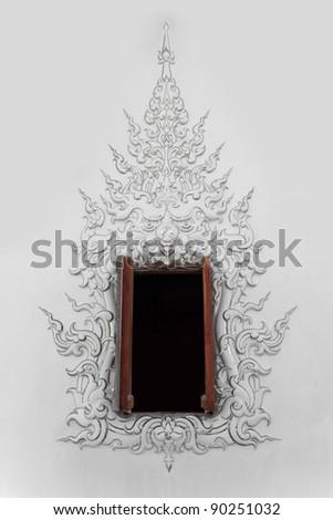 Window at Rong Khun temple,Chiang Rai North Thailand
