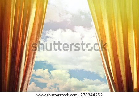 Window curtains with view of clouds and sky  #276344252