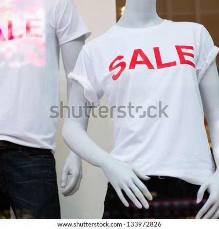 window display with text SALE in a shop #133972826