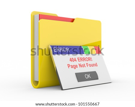 Window error 404. Page not found. 3d illustration