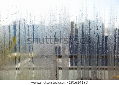 Window glass with condensation