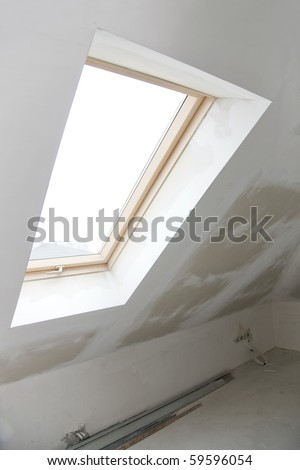 window in a house under construction