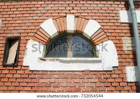 Window in Holland house (A Holland Ház)on isle in garden of Classicist manor house in Dég, Hungary  Stock fotó ©
