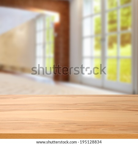 window in home and desk of yellow