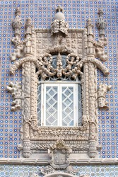 Window in manuelino-style, Pena palace, Sintra, Portugal
