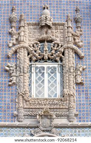 Window in manuelino-style, Pena palace, Sintra, Portugal