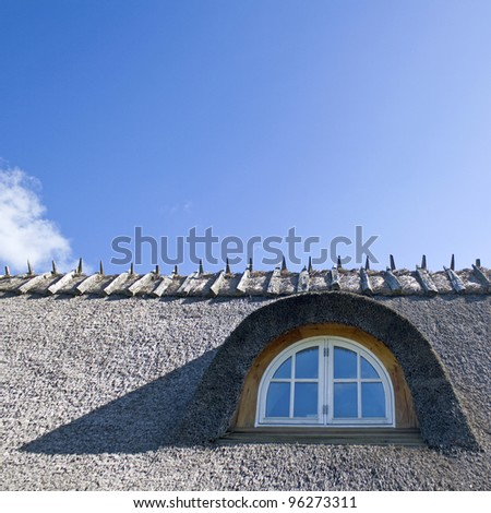 Window in thatched roof on house.