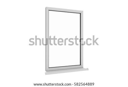 Window. Isolated window. Aluminum , White, Pvc window. 3d. 3D render. #582564889