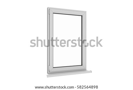 Window. Isolated window. Aluminum , White, Pvc window. 3d. 3D render. #582564898