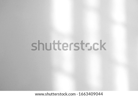 Photo of  Window natural shadow overlay effect on white texture background, for overlay on product presentation, backdrop and mockup, summer seasonal concept