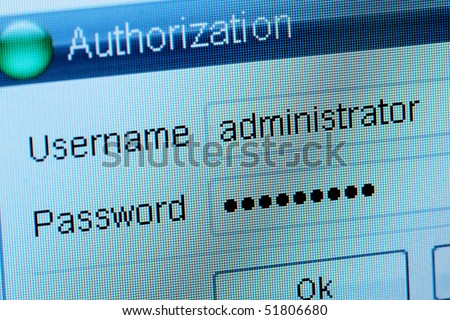 Window of input of a login and the password