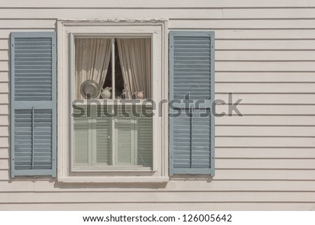 Window of New England historic house in Rockport
