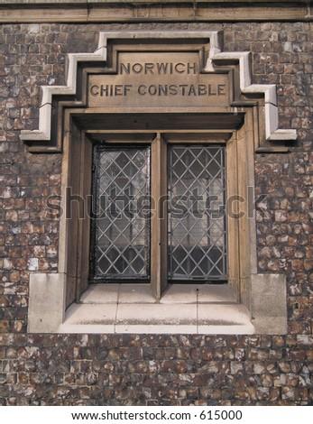 Window of old police office in Norwich, Norfolk
