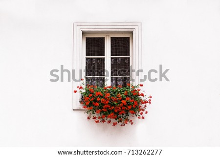Window on a white wall with red flowers. #713262277