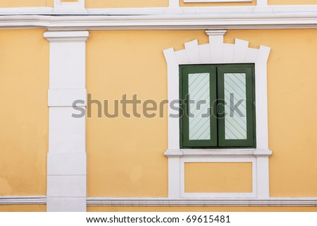 Window on the yellow background