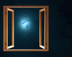 window open dark night half moon light view