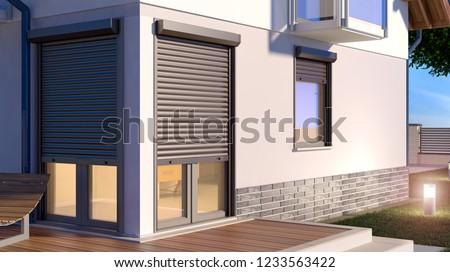 Window roller illustration - house 9, 3D illustration Stock photo ©