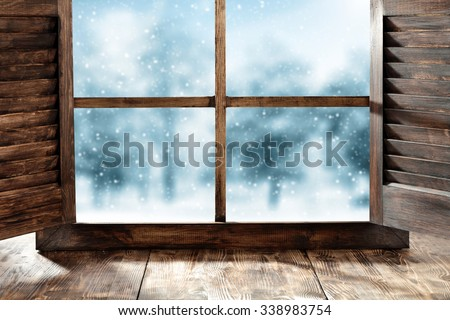 window sill and winter day