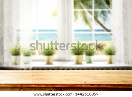 Window sill background and summer time. Free space for your decoration.