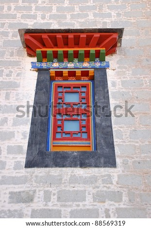 Window style in Potala palace, Tibet