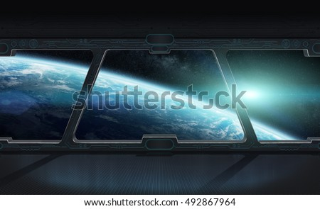 Window view of planet earth from a space station 3D rendering elements of this image furnished by NASA #492867964